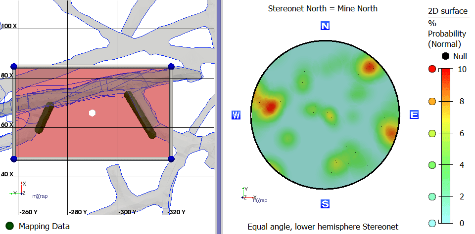 Stereonet of selected scan line mapping data